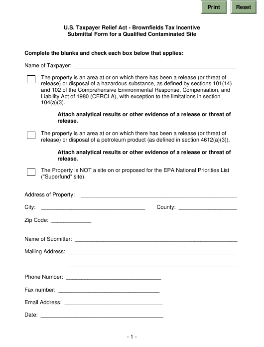 """""""Brownfields Tax Incentive Submittal Form for a Qualified Contaminated Site"""" - California Download Pdf"""