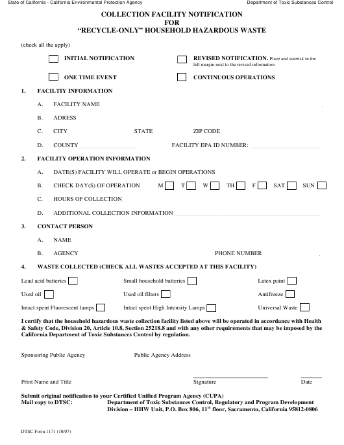 Form DTSC1171  Printable Pdf