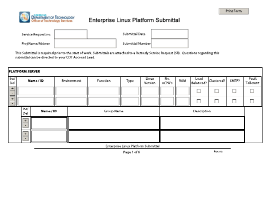 """Enterprise Linux Platform Submittal Form"" - California Download Pdf"