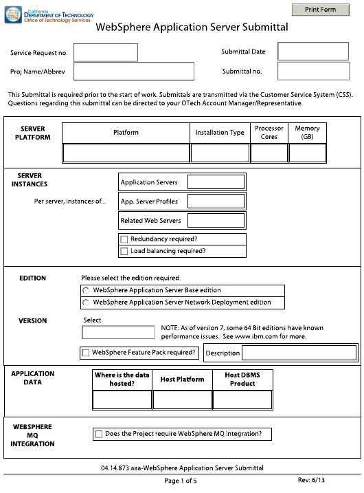 """Websphere Application Server Submittal Form"" - California Download Pdf"