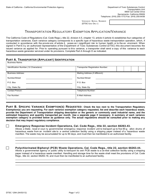 Form DTSC1294  Printable Pdf