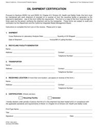 DTSC Form DTSC 1004 Oil Shipment Certification - California