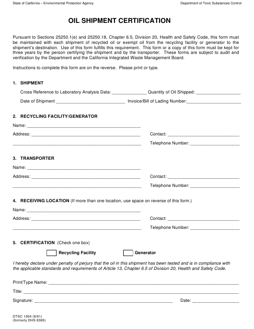 Form DTSC1004  Printable Pdf