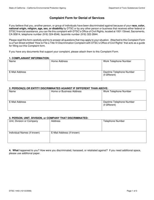 DTSC Form 1443  Printable Pdf