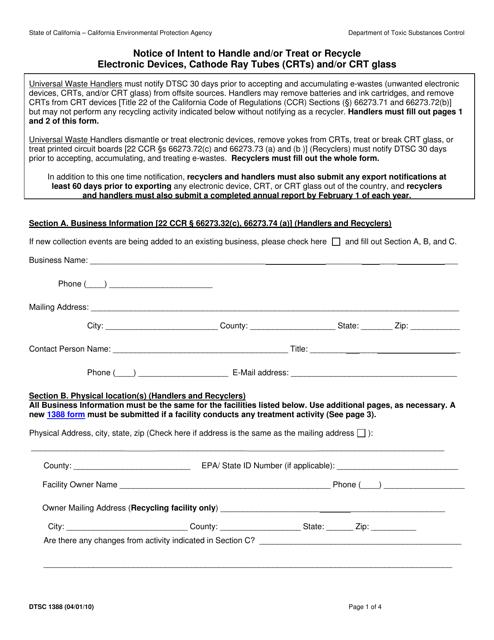 DTSC Form 1388  Printable Pdf