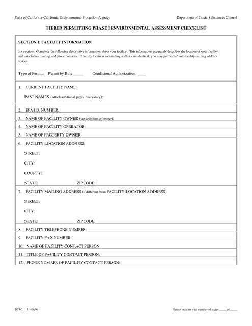 Form DTSC1151  Printable Pdf