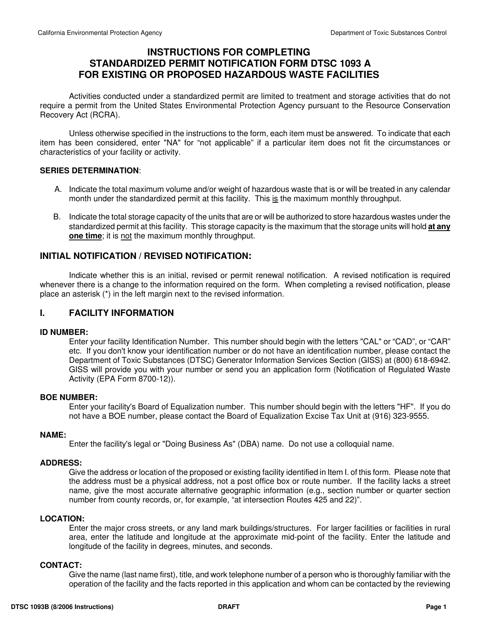 DTSC Form 1093A  Printable Pdf
