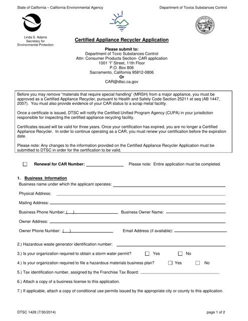 Form DTSC1428  Printable Pdf
