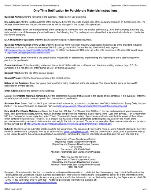 DTSC Form 1444  Printable Pdf