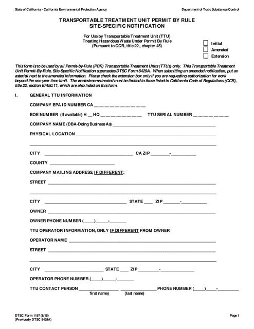 Form DTSC1197  Printable Pdf