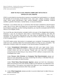 "DTSC Form 1443 ""Civil Rights Complaint Form"" - California"