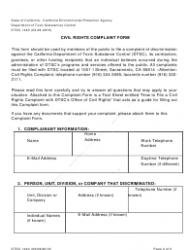"""DTSC Form 1443 """"Civil Rights Complaint Form"""" - California, Page 3"""