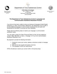 "DTSC Form 1602 ""Communication Assistance Resolution Form"" - California"