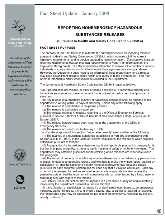 """Nonemergency Hazardous Substance Release Report Form"" - California Download Pdf"