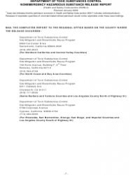 """""""Nonemergency Hazardous Substance Release Report Form"""" - California, Page 11"""