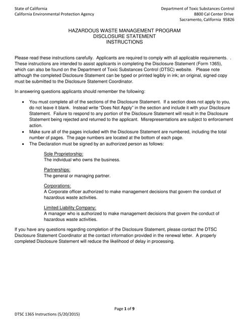 DTSC Form 1365  Printable Pdf