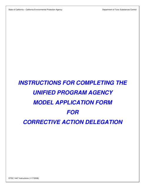 Form DTSC1447  Printable Pdf