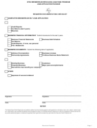 Required Documentation Checklist - Dtsc Brownfields Revolving Loan Fund Program - California