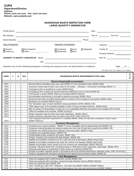"""Hazardous Waste Inspection Form Large Quantity Generator"" - California Download Pdf"