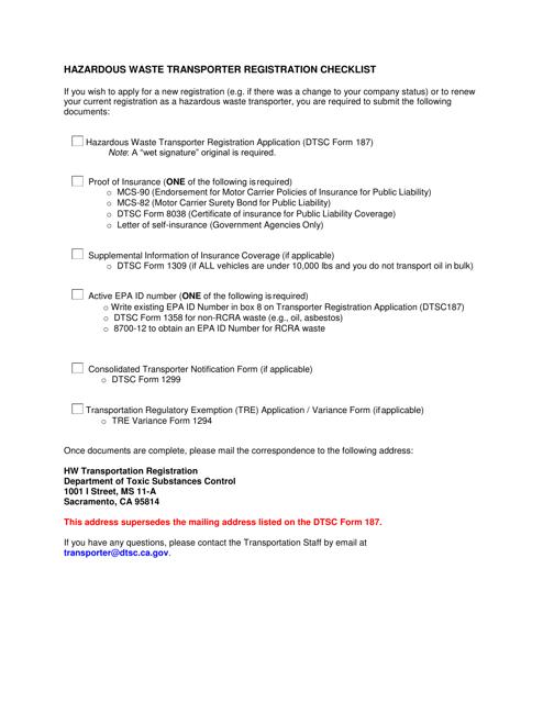 """Hazardous Waste Transporter Registration Checklist"" - California Download Pdf"