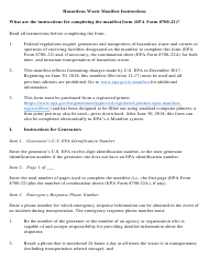 "Instructions for EPA Form 8700-22 ""Uniform Hazardous Waste Manifest"""