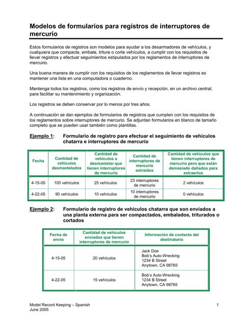"""""""Modelos De Formularios Para Registros De Interruptores De Mercurio"""" - California (Spanish) Download Pdf"""
