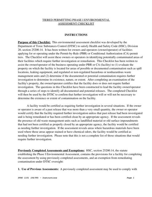 DTSC Form 1151  Printable Pdf