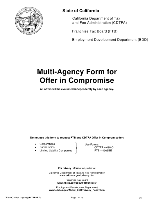 Form DE999CA  Printable Pdf
