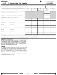 """Form 100S Schedule C """"S Corporation Tax Credits"""" - California"""