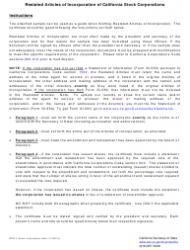 """""""Restated Articles of Incorporation of California Stock Corporations"""" - California, Page 2"""