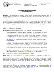 "Form SI-PT ""Corporate Disclosure Statement (Domestic Stock and Foreign Corporations)"" - California"