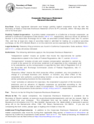 """Form SI-PT """"Corporate Disclosure Statement (Domestic Stock and Foreign Corporations)"""" - California"""