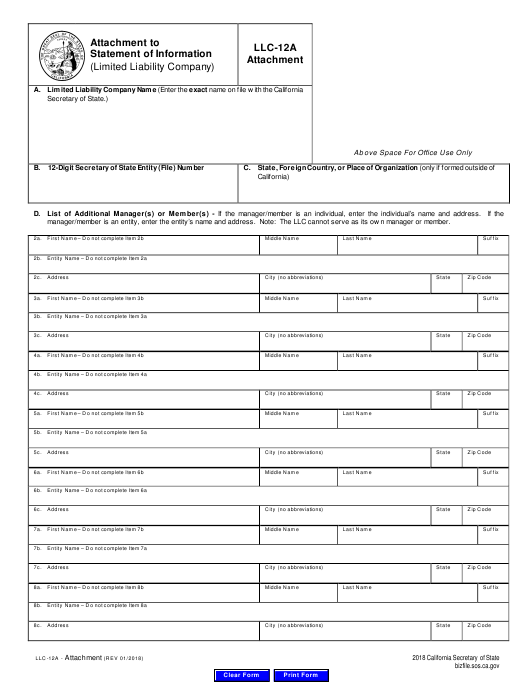 Form LLC-12A Download Fillable PDF Or Fill Online Attachment To Statement Of Information