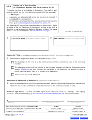 "Form LLC-8 ""Certificate of Continuation of a California Limited Liability Company (LLC)"" - California"