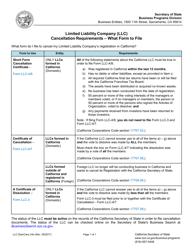 Form LLC-4/8 Short Form Cancellation Certificate - California