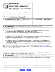 """Form LLC-4/8 """"Short Form Cancellation Certificate"""" - California, Page 5"""