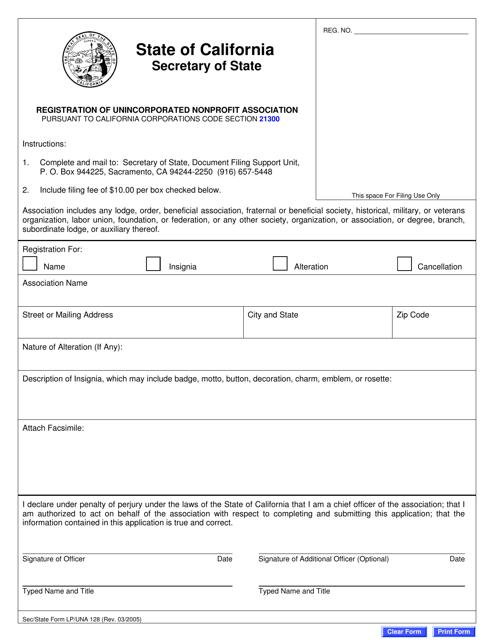 Form LP/UNA128  Printable Pdf