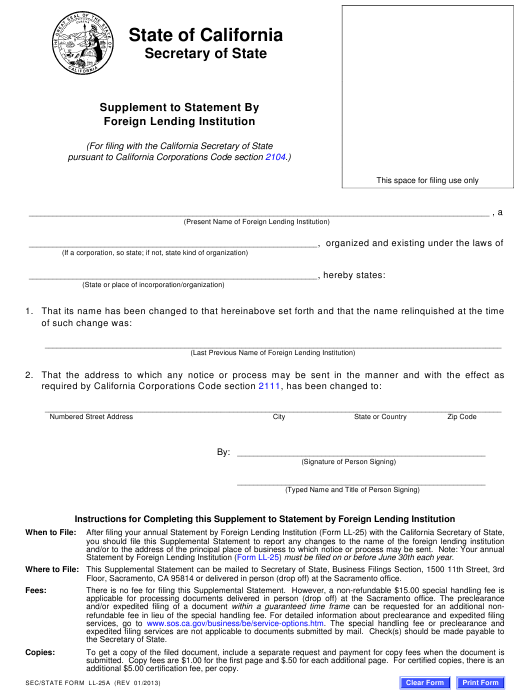 Form LL-25A  Printable Pdf