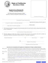 """Form LL-25A """"Supplement to Statement by Foreign Lending Institution"""" - California"""