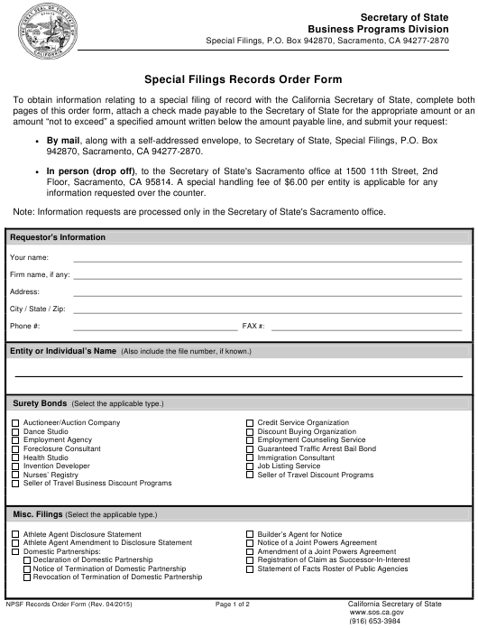 """Special Filings Records Order Form"" - California Download Pdf"