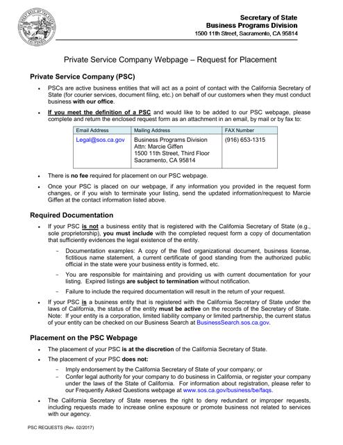 """""""Private Service Company Request Form"""" - California Download Pdf"""