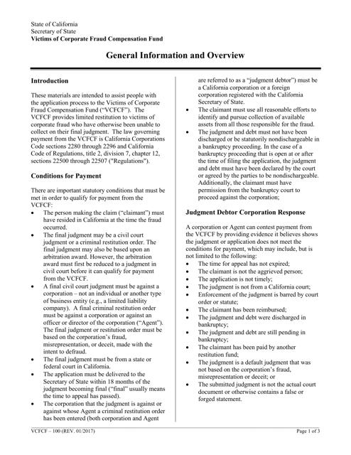 Form VCFCF-300  Printable Pdf