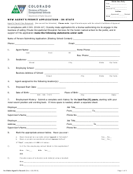 """""""New Agent's Permit Application - in-State"""" - Colorado"""