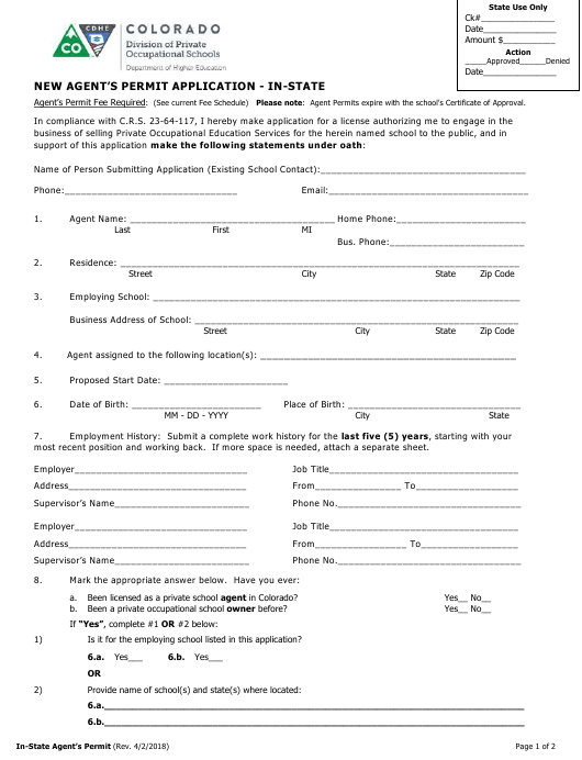 """New Agent's Permit Application - in-State"" - Colorado Download Pdf"