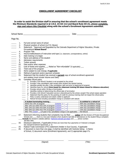 """Enrollment Agreement Checklist"" - Colorado Download Pdf"