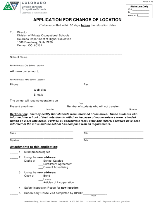 """Application for Change of Location"" - Colorado Download Pdf"
