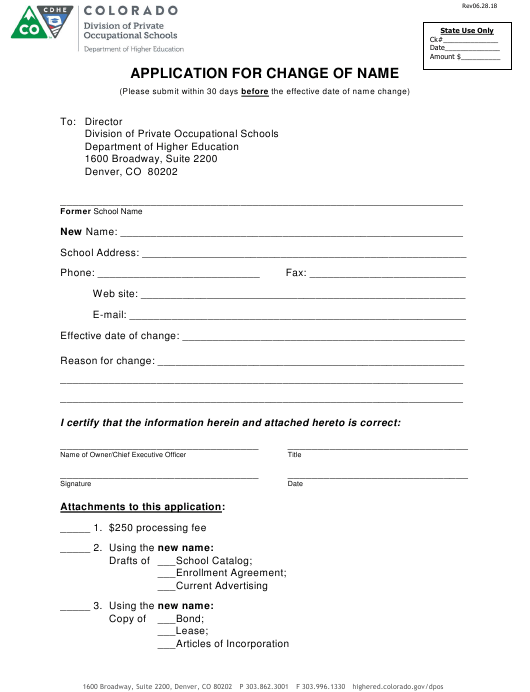 """Application for Change of Name"" - Colorado Download Pdf"