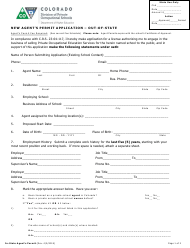 """New Agent's Permit Application Form - out-Of-State"" - Colorado"