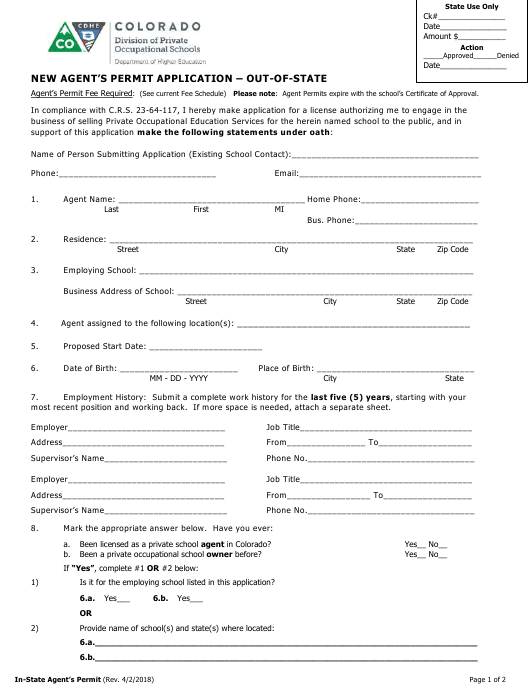 """""""New Agent's Permit Application Form - out-Of-State"""" - Colorado Download Pdf"""