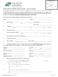 New Agent's Permit Application Form - out-Of-State - Colorado